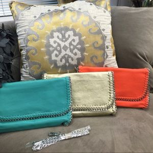 Handbags - Gold, Turquoise or Orange Chain Edged Clutch NWT