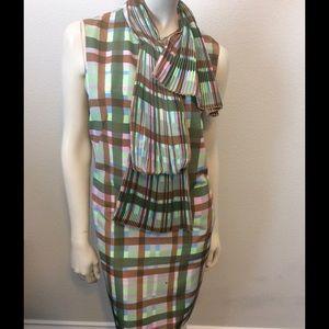 Missoni Plaid Pleated Fan Collar Dress