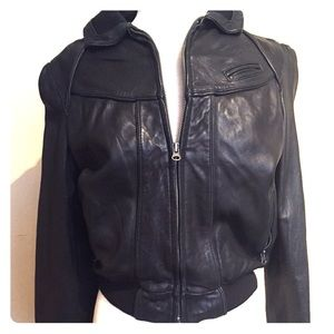 JLO Genuine Leather Bomber Jacket