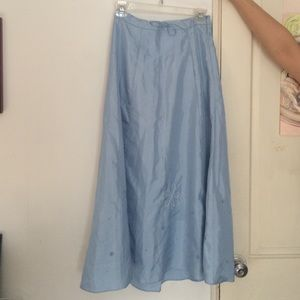NWT Gap Long Blue Embroidered Skirt