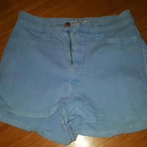 Pants - Vibrant High waisted blue shorts jean