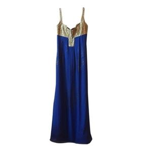 Nicole Miller Blue and Gold Formal Maxi Dress