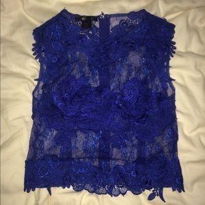 Cobalt blue laced zip up top