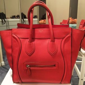 auth celine luggage tote pebbled leather