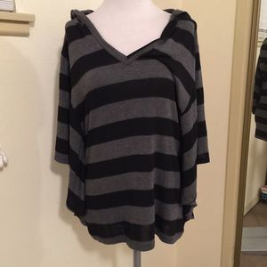 Foreign Exchange Sweaters - Black and grey striped hooded sweater top sz small