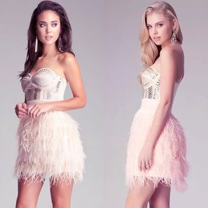 bebe pink feather studded dress RARE homecoming