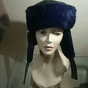 FAUX LEATHER&FUR HAT 59 size largePreowned