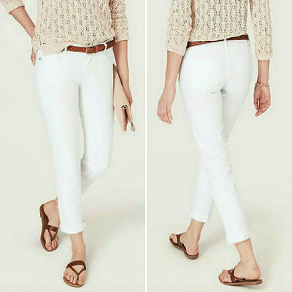 69% off LOFT Denim - Loft Petite Modern Cuffed Crop White Jeans ...