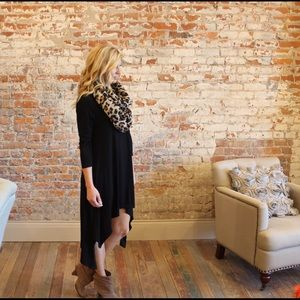 Black knit high low dress
