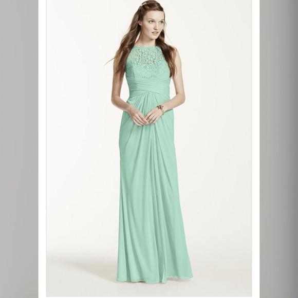 David\'s Bridal Dresses | Mint Green Lace Prom Dress Formal Dress ...