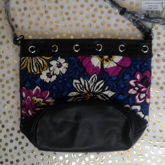 Vera Bradley Bags - NWT African Violet Leather Drawstring Crossbody