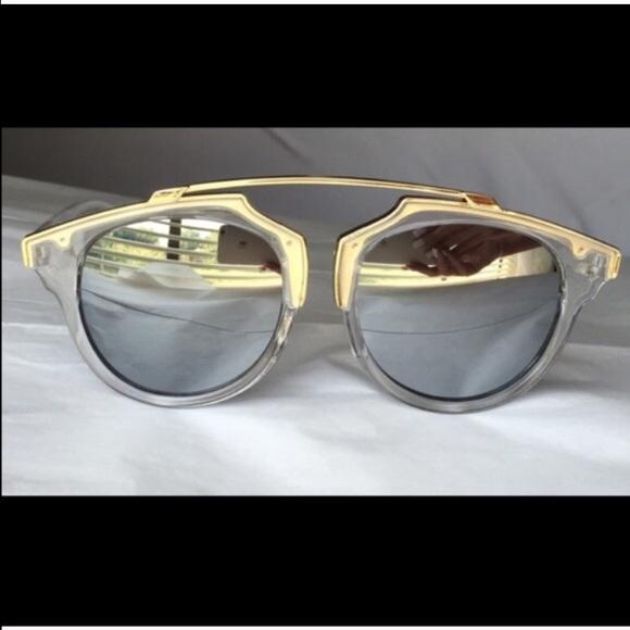 Clear Gold Trim Frame Sunglasses
