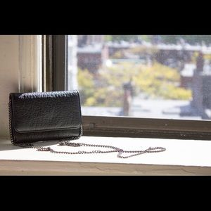 Black Leather Crossbody Mini Bag