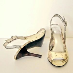 Beige Reptile Pattern Shoes by Calvin Klein