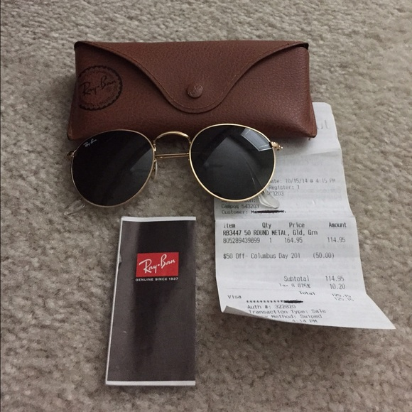 ray ban round metal gold 50