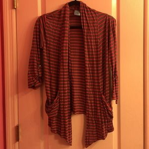 Grey and red stripes cardigan