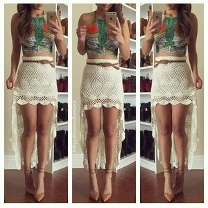 Dresses & Skirts - Crochet high low skirt