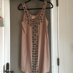Haute hippie nude embellished dress
