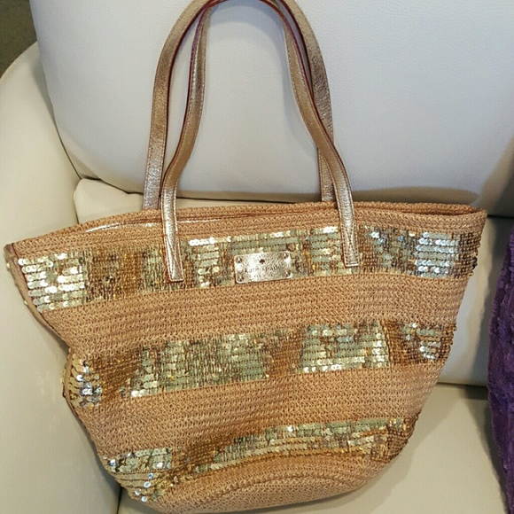 49% off kate spade Handbags - Kate Spade straw gold sequin beach ...