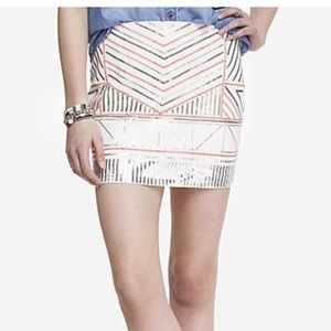 Express Ivory Sequins mini skirt