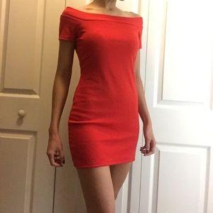 Red off shoulder dress by Zara