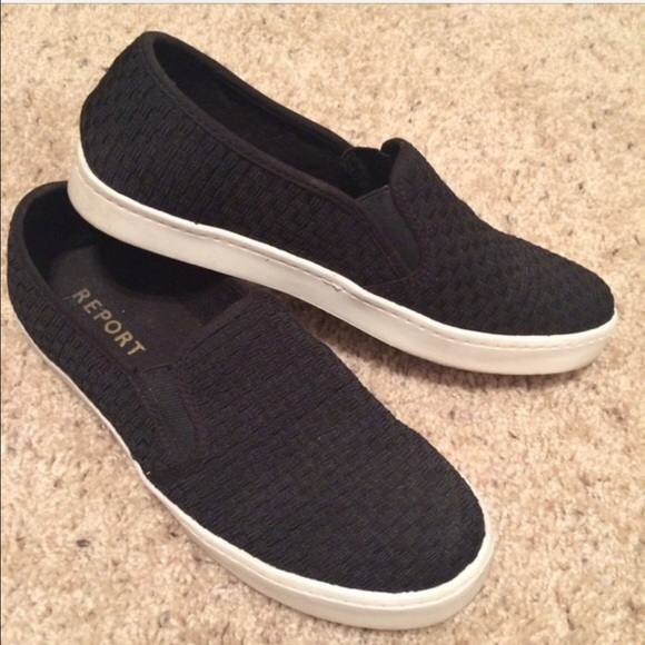 7e5c4f11b4ad25 Report Shoes - Report Black Woven Slip-On Sneakers