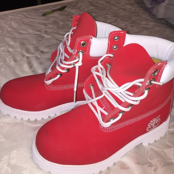 new concept 1cd52 10e79 Jordan Shoes - Red and white timberlands shoot a price