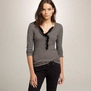J.CREW Gray/White Perfect-Fit Stripe Ruffle Henley