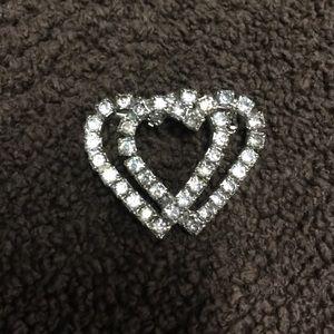 Jewelry - 💎💎Vintage Double Heart Rhinestone Pin💎💎