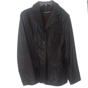 Kenneth Cole brown genuine leather jacket