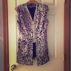 Long suede animal print vest