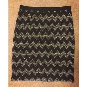 Sunny Leigh black & silver sequined lace skirt