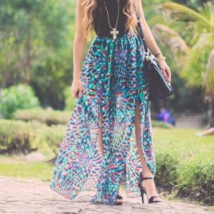 Iconica Dresses & Skirts - Double slit floral maxi skirt