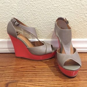 BC High Wedge Sandals w/Bright Coral Heel