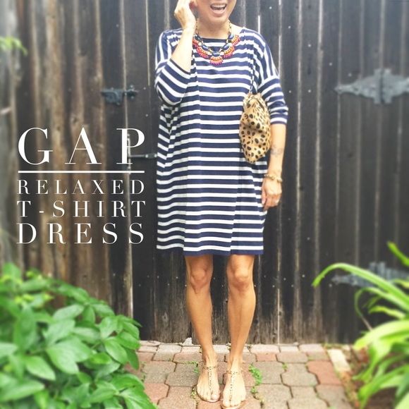 GAP Dresses   Skirts - Relaxed T-Shirt Dress in Navy Stripe by GAP 1e271257b