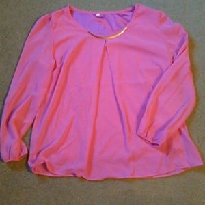 Tops - Sheer hit pink top with lining