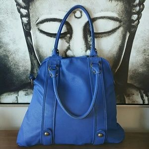 Blue leather-like tote
