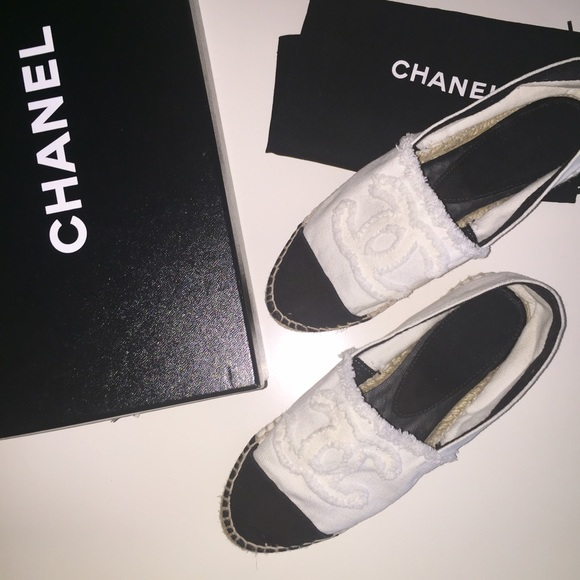 68e5cde12 Chanel Espadrilles In Canvas Size 42 Es Small For A Depop