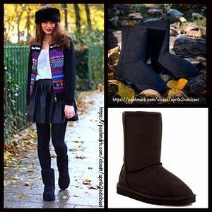 Bucco Shoes - Black Boots Vegan Shearling Flats