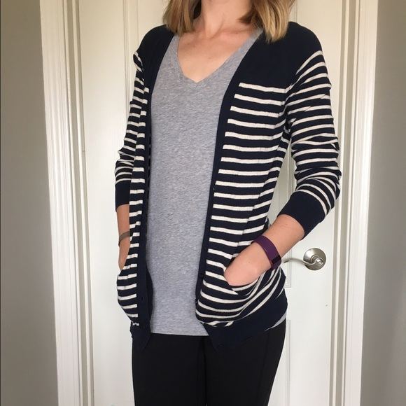 614bf5b403 Olive   Oak Navy White Striped Cardigan. M 5622a44999086a6959002767. Other  Sweaters ...