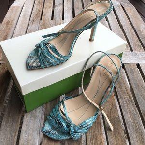 kate spade Shoes - Kate Spade Metallic Turquoise Snakeskin Heels 8.5