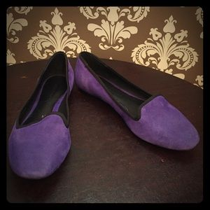 Rebecca Minkoff purple suede flats w/ black trim
