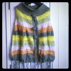 Jackets & Blazers - Green Beige Yellow Orange Striped Crochet Poncho