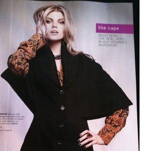 Mackage Black Wool/Leather Cape Coat
