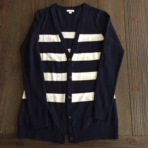 Navy and white striped gap cardigan sweater