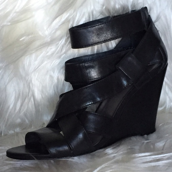 Joie Shoes Royce Criss Cross Wedges In Black Leather