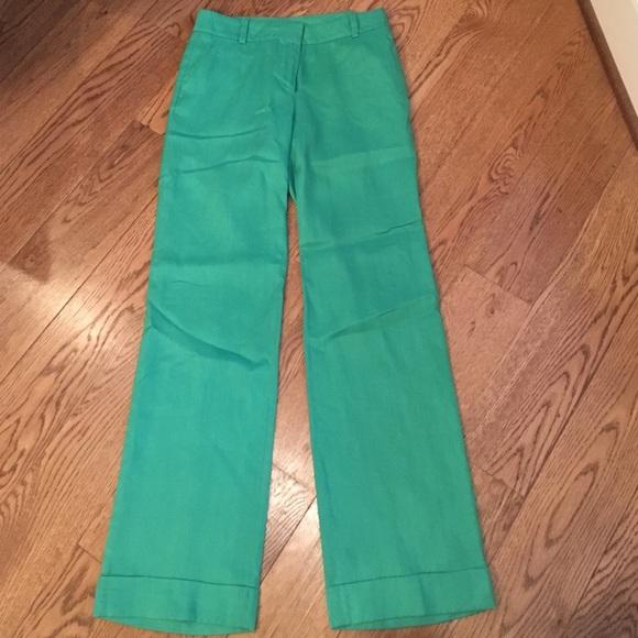 69% off J. Crew Pants - J Crew Green City Fit Linen Pants, 0 from ...
