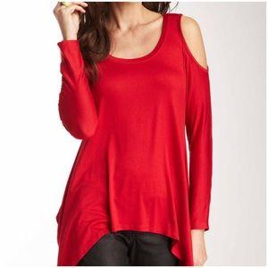 Red Long sleeve Cold Shoulder Top