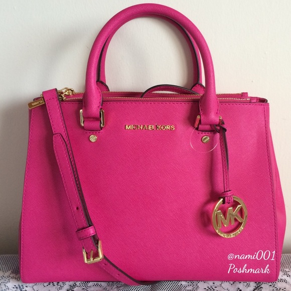 e81459dd88cd Michael Kors Sutton Satchel Crossbody Raspberry