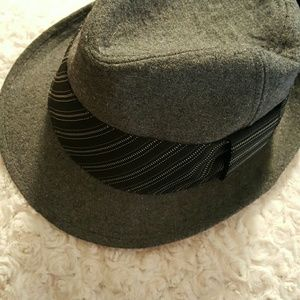 Grey pinstripe fedora hat o/s gray
